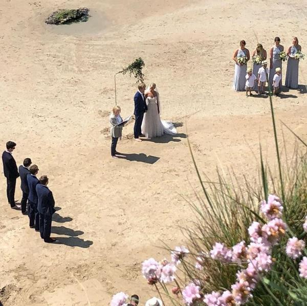 ceremony on beach emily and sean may 2018